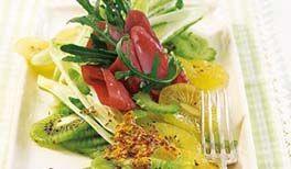 kiwi salat mit schinken. Black Bedroom Furniture Sets. Home Design Ideas